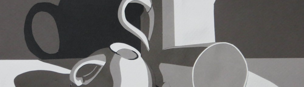In the end I decided to go with a dark gray background and a light gray table with a pool of pure white light.