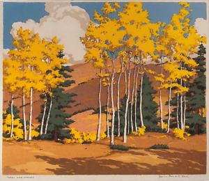Aspen and Spruce,  Serigraph, 1949