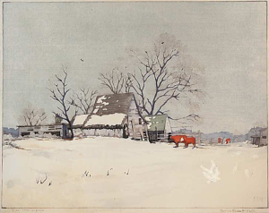 Gray Winter, Color Block Print, 1947