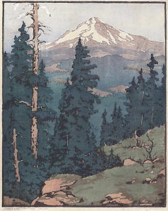 Mt Hood -- Oregon, Color Block Print, 1928-29