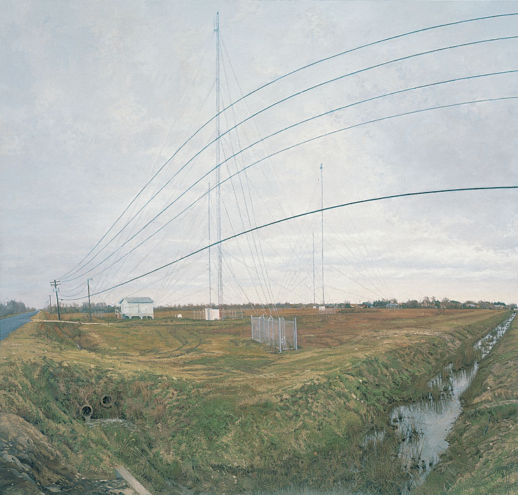 At the Confluence of Two Ditches Bordering a Field with Four Radio Towers, Rackstraw Downes, 1995