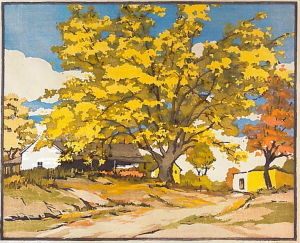 The Golden Maple, Color Block Print, 1935