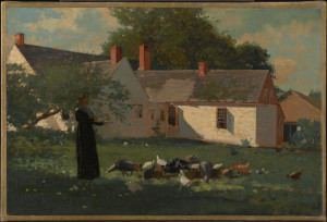 "Winslow Homer, Farmyard Scene, c 1872-74, Oil on canvas, 12 3/8"" x 18 7/16"""