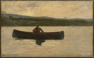 "Winslow Homer, Playing a Fish, 1875, reworked in the 1890s, Oil on canvas, 11 11/16"" x 18 15/16"""