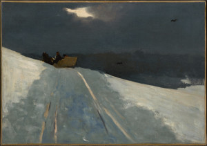 "Winslow Homer, Sleigh Ride,  c 1890-95, Oil on canvas, 14 1/16"" x 20 1/16"""
