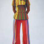 "Wayne Thiebaud, Girl in Striped Blouse, 1973-1975, Oil on canvas, 66 1/8"" x 36 1/8"""