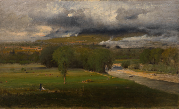 "George Inness, Saco Ford: Conway Meadows, 1876, Oil on canvas, 38"" x 63"""