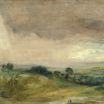 "John Constable, Hampstead Fields, Looking West, Afternoon, 1821, Oil on panel, 6 1/2"" x 8 3/4"""