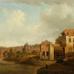 "William Marlow, River Landscape with Bridge and Mill, Oil on canvas, 22"" x 29"""
